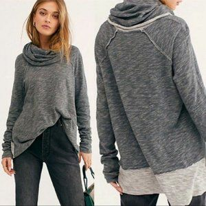 Free People FP Beach Cocoon Cowl Pullover Charcoal
